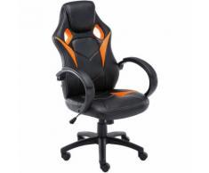 Sedia da ufficio sportiva Magnus in similpelle Nero/arancione
