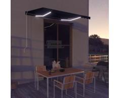 Tenda da Sole con Sensore Vento e LED 350x250 cm Antracite - Grigio - Vidaxl