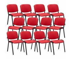 Set 12 Sedie Ufficio Visitatore Ken Imbottite In Similpelle Rosso