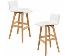 2x sgabello da bar/ sedia da bar - (faggio - bianco) similpelle