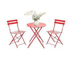 Set Bistrot 2 sedie + tavolino Pieghevole salvaspazio per Giardino, Balcone, Veranda e terrazza