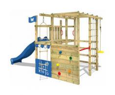 WICKEY Parco giochi in legno Smart Champ Giochi da giardino con scivolo blu Scala svedese, Barre di