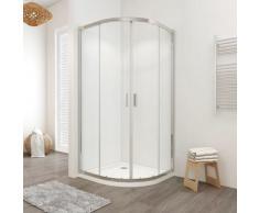 Box doccia LISBONA doppia porta scorrevole semicircolare 80x80 cm altezza 190 cm cristallo 6 mm