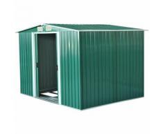 Casetta Box Da Giardino In Lamiera Verde 246x192.5x177.5 Cm - Miozzi
