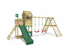 WICKEY Parco giochi in legno Smart Port Giochi da giardino con altalena e scivolo verde Torre
