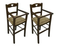 2 pezzi di Seggiolone sediolone sedia sgabello in legno noce marrone da tavolo per bimbo bimba
