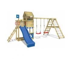 WICKEY Parco giochi in legno Smart Port Giochi da giardino con altalena e scivolo blu Torre