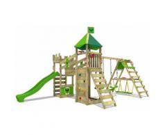FATMOOSE Parco giochi in legno RiverRun Giochi da giardino con altalena SurfSwing e scivolo mela