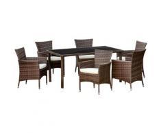 Outsunny Set Mobili da Esterno con 1 Tavolo e 6 Sedie da Giardino in Rattan PE