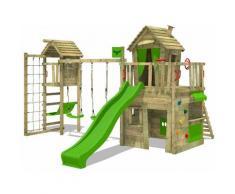 FATMOOSE Parco giochi in legno CrazyCat Giochi da giardino con altalena TowerSwing e scivolo mela