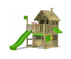 FATMOOSE Parco giochi in legno CountryCow Giochi da giardino con scivolo mela verde Casetta da