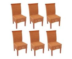 Set 6x sedie M42 rattan vimini classico senza cuscini