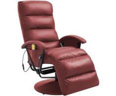 Poltrona per TV Reclinabile Massaggiante Rosso Vino Similpelle