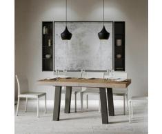 Itamoby S.r.l. - Tavolo Bridge Allungabile piano Noce 90x160 allungato 420 telaio Antracite