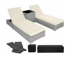 Tectake - 2 lettini in alluminio e polyrattan + tavolo - sdraio, sdraio da giardino, lettini da
