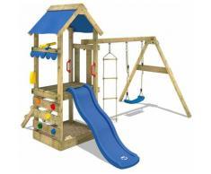 WICKEY Parco giochi in legno FreshFlyer Giochi da giardino con altalena e scivolo blu Torre