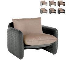 Poltrona lounge design moderno Mara trama cuoio interno esterno | Colore: Grigio Scuro - Slide