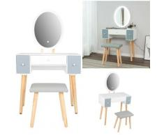 Tavolo da Trucco Mobili Toeletta Trucco con Luci 1 Cassetto con Specchio Ovale grigio scuro - bianco