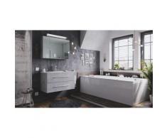 Set di mobili da bagno Firenze 90 2 parti grigio cemento e armadio specchio