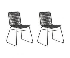 Set di 2 sedie da pranzo in rattan color nero BERITO