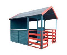 Wiltec - Casetta per bambini XL 146x195x156cm con zona giorno e veranda Casa giocattolo da giardino