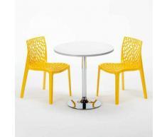 Tavolino Rotondo Bianco 70x70 cm con Base in Acciaio e 2 Sedie Colorate GRUVYER ISLAND | Giallo