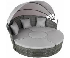 Tectake - divano prendisole in alluminio e rattan - rattan, rattan sintetico - grigio