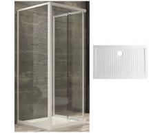 box cabina doccia corner 3 lati cristallo temprato trasparente 80x100x80 + piatto doccia porcellana