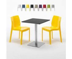 Tavolino Quadrato 60x60 cm Base Silver e Top Nero con 2 Sedie Colorate ICE PISTACHIO   Giallo