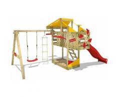 WICKEY Parco giochi in legno AirFlyer Giochi da giardino con altalena e scivolo rosso Casetta da