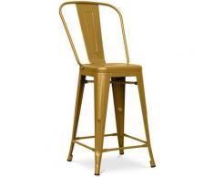 Sgabello da bar Tolix quadrati con schienale Pauchard Style - 60cm Oro