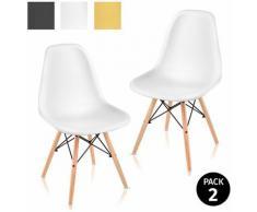 Pack 2 sedie per sala da pranzo design nordico soggiorno terrazza camera da letto bianco