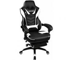 Sedie da Gaming Racing Gamer Ufficio con Poggiapiedi Telescopico Bianco - Nero