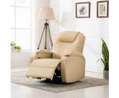 Poltrona Massaggiante Elettrica a Dondolo in Similpelle Crema