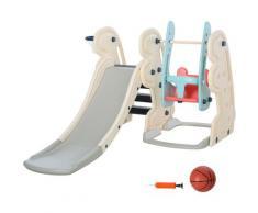 HMC - Scivolo Per Bambini 220x160x120 Cm Con Altalena E Canestro Bianco
