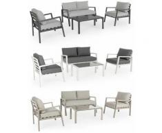 Salotto 'Koral' in alluminio da giardino per esterno divano con poltrone imbottite -Bianco