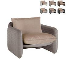 Poltrona lounge design moderno Mara trama cuoio interno esterno | Colore: Grigio chiaro - Slide