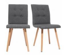 Sedia design grigio scuro e legno gruppo di due HORTA