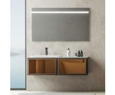 Mobile da bagno sospeso cm 120 con specchio luce led touch serie Tokyo
