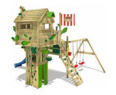 WICKEY Parco giochi in legno Smart Treetop Giochi da giardino con altalena e scivolo Blu, Casetta