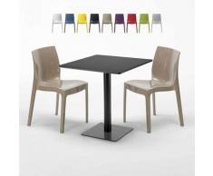 Tavolino Quadrato Nero 70x70 cm con 2 Sedie Colorate ICE KIWI | Beige