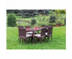 Set in polyrattan con tavolo rettangolare e sei sedie | marrone