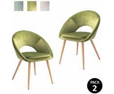 Pack di 2 sedie da pranzo con braccioli, salotto, ufficio o cucina, stile elegante, verde mela