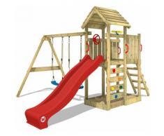 WICKEY Parco giochi in legno MultiFlyer Tetto in legno Giochi da giardino con altalena e scivolo