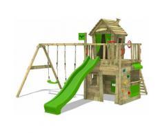 FATMOOSE Parco giochi in legno CrazyCat Giochi da giardino con altalena e scivolo mela verde