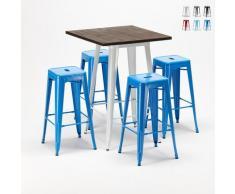 Set tavolo alto e 4 sgabelli in metallo stile Tolix industriale HARLEM per Bar e Pub   Colore: Blu