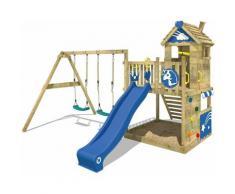 WICKEY Parco giochi in legno Smart Sparkle Giochi da giardino con altalena e scivolo blu Casetta da