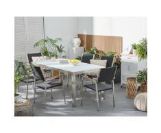 Set tavolo e sedie da giardino - In vetro temperato bianco e rattan - tavolo 180 con 6 sedie