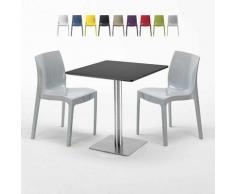 Tavolino Quadrato Nero 70x70 cm con 2 Sedie Colorate GRUVYER KIWI | Grigio