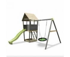 SOLO torre da gioco in legno per bambini con scivolo, sabbiera e altalena nido - grigio. Legno